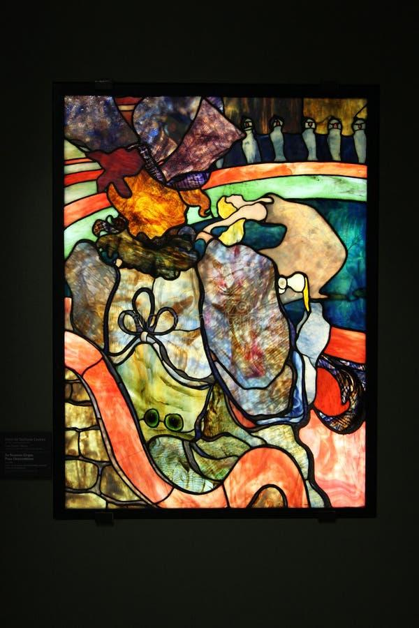 Gebrandschilderd glasvenster Henri de Toulouse-Lautrec, Louis Comfort Ti stock foto