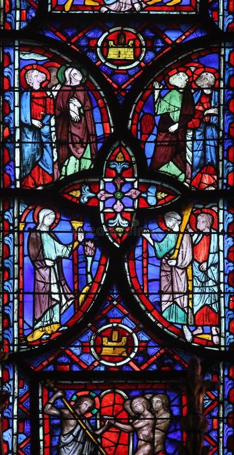 Gebrandschilderd glasvenster in La sainte-Chapelle in Parijs royalty-vrije stock afbeelding