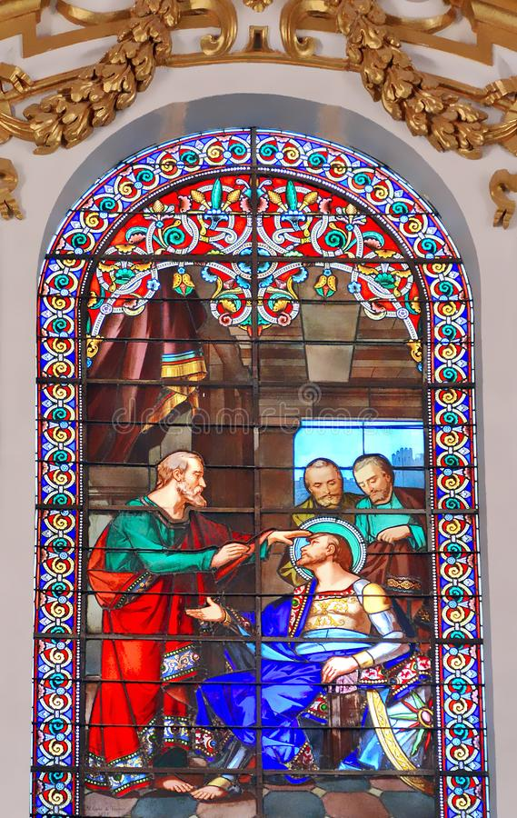 Gebrandschilderd glasvenster in Valletta stock foto's