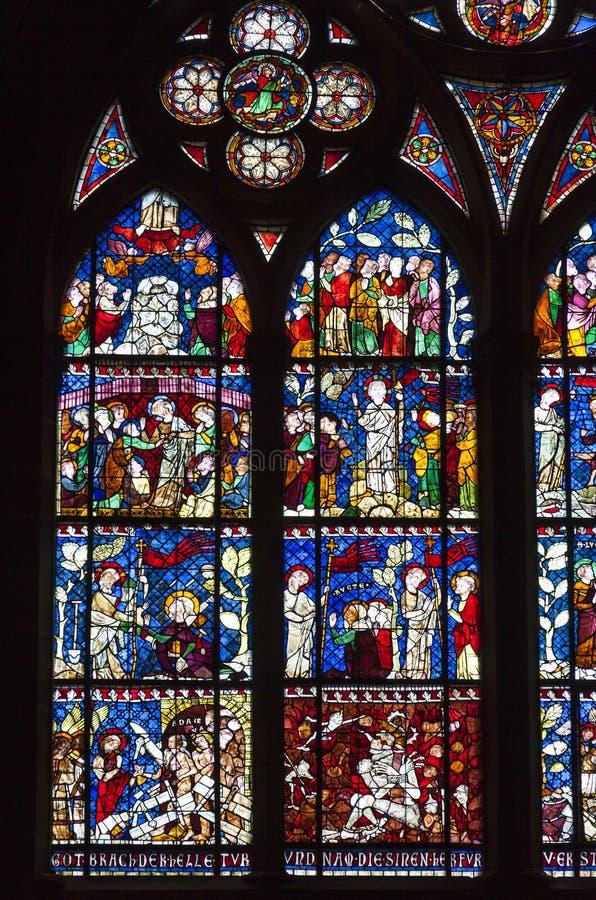 Gebrandschilderd glasvensters van de Kathedraal van Straatsburg, de Elzas, Frankrijk stock foto's