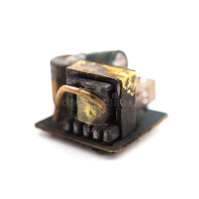 Gebrannter heraus Kern eines beweglichen recharger auf Weiß stockfoto