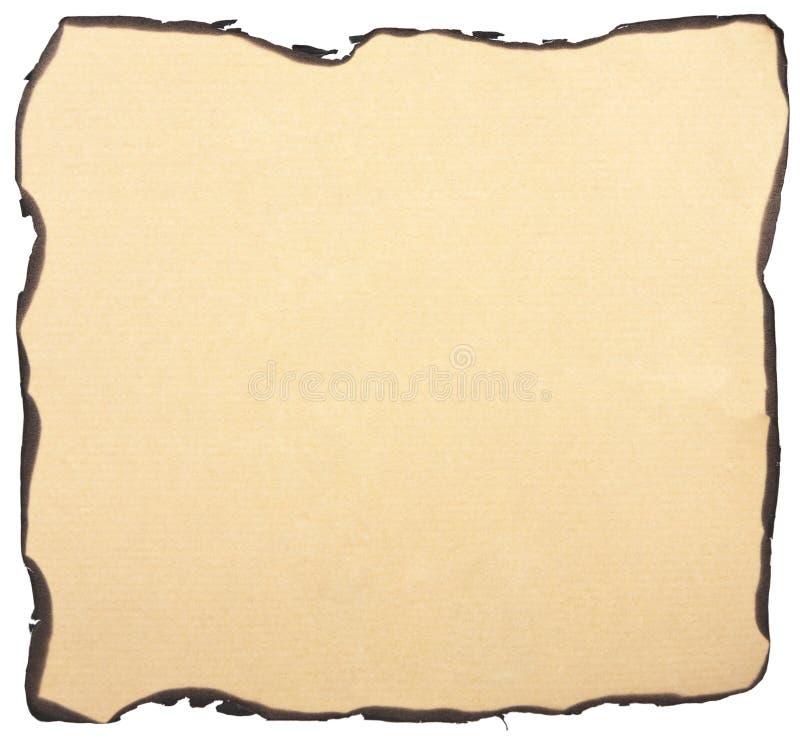 Gebrannter Papierhintergrund getrennt stockfotografie