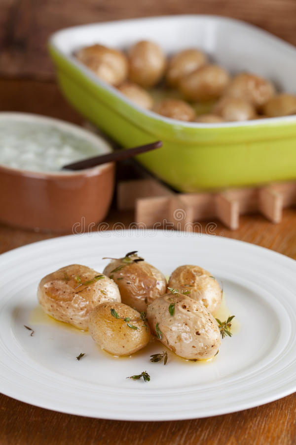 Gebratene Babykartoffeln Mit Thymian Lizenzfreies Stockfoto