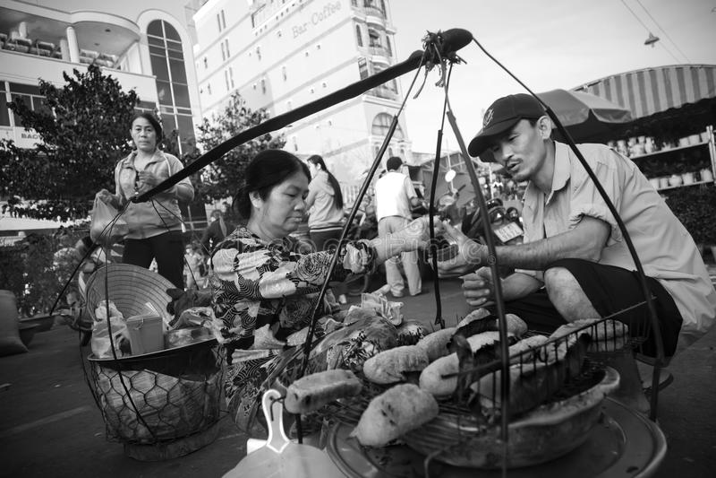 Gebratene Banane, die in Vietnam verkauft stockfotografie