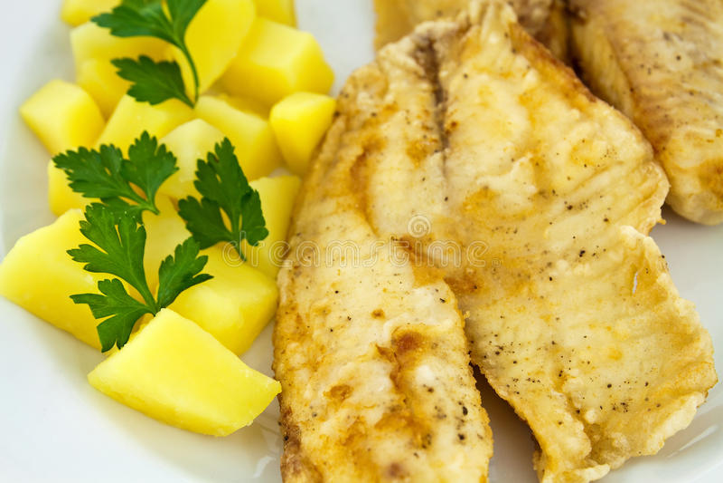 Download Gebratene Fische Mit Gekochten Kartoffeln Stockfoto - Bild von abendessen, grün: 27726182