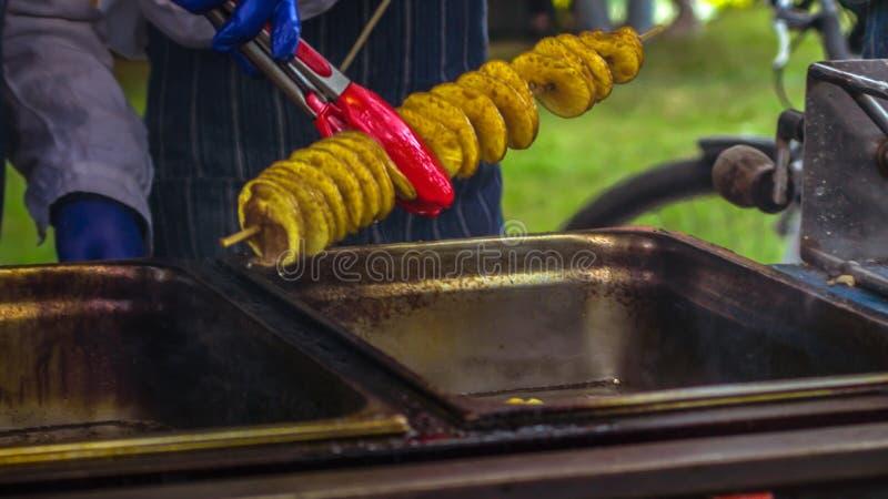 Gebratene Kartoffeln in Form von Spirale auf hölzernem Stock Kartoffeln gebraten bis goldene Farblügen auf Metallbehälter während lizenzfreie stockfotografie