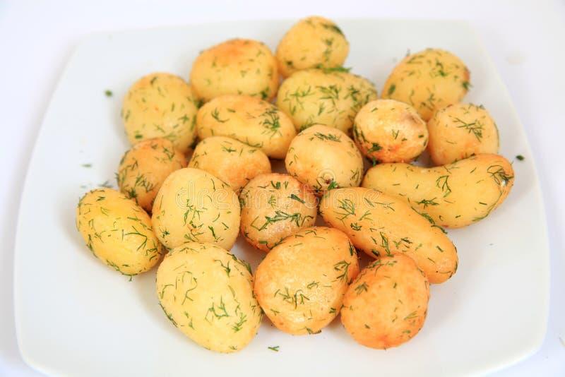 Gebratene Knoblauch-Kartoffeln lizenzfreie stockbilder