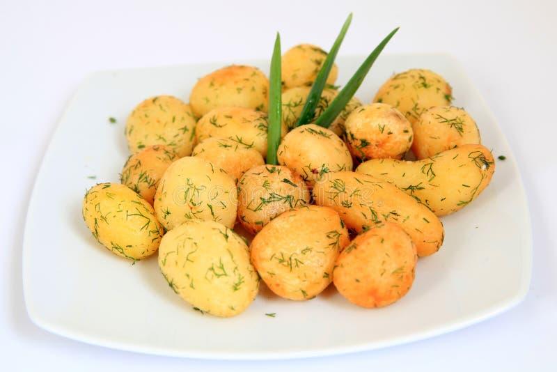 Gebratene Knoblauch-Kartoffeln stockbilder