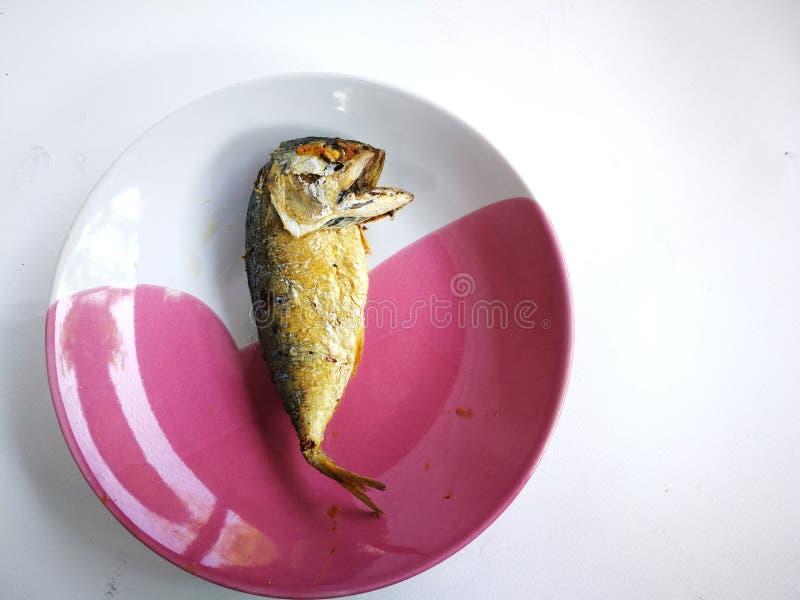 Gebratene Makrele auf der Platte Die Makrelenfische wurden gekocht lizenzfreie stockfotografie