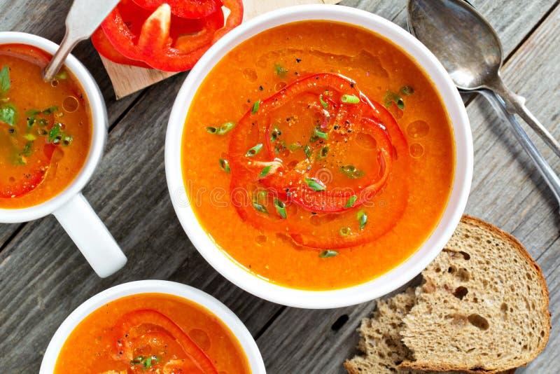 Gebratene Suppe des roten Pfeffers in der weißen Schüssel lizenzfreie stockfotografie