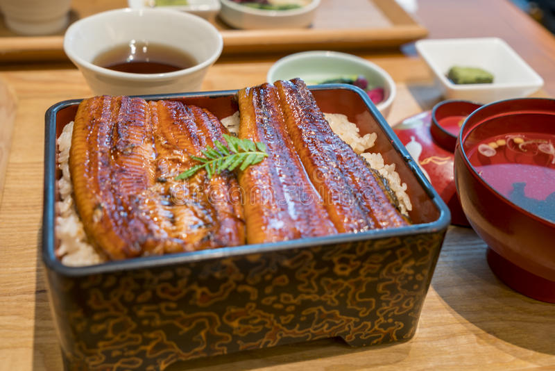 Gebratener Aal auf Reis, unaju, japanische unagi Küche stockfotografie