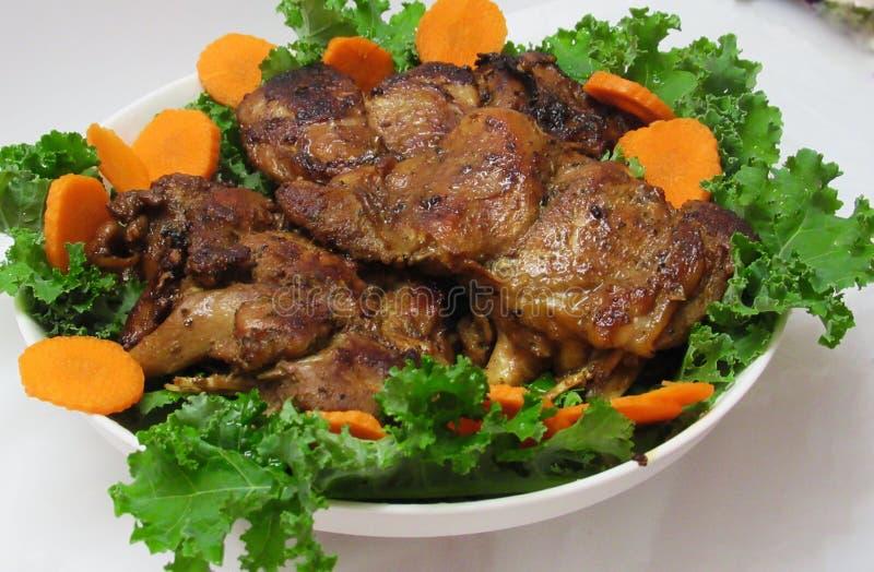 Gebratener die Türkei-Fleisch-Abendessen-Hauptgericht-Teller lizenzfreie stockbilder