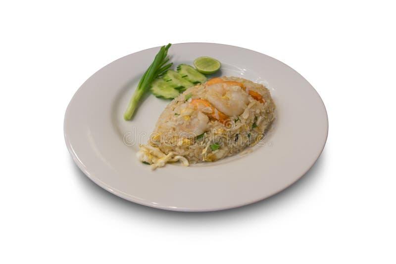 Gebratener Jasminreis mit frischer Garnele mit Beilage, berühmtes Lebensmittel Thailands stockbild