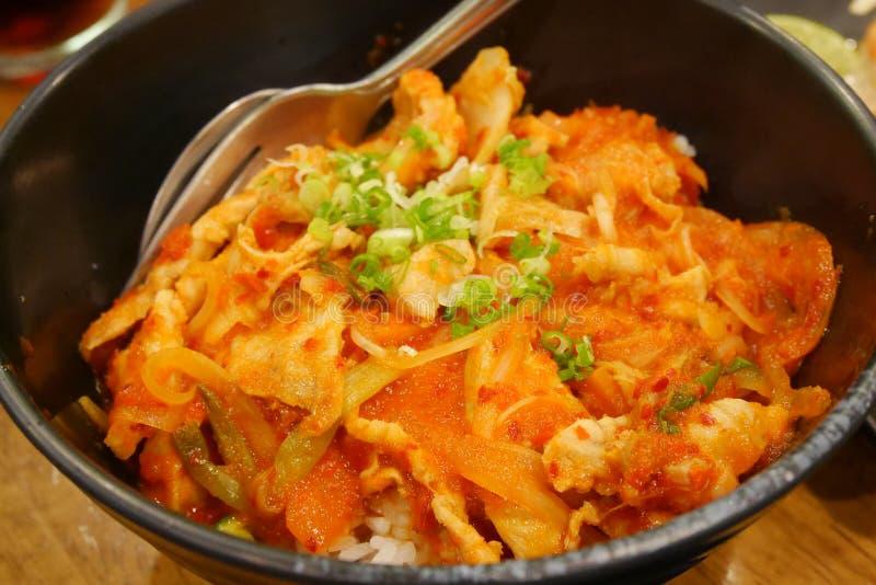 Gebratener Reis mit kimchi stockbild