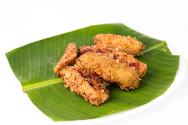 Gebratenes Banane oder pisang goreng, ein populärer Snack in Malaysia, Indonesien und Thailand lizenzfreies stockbild