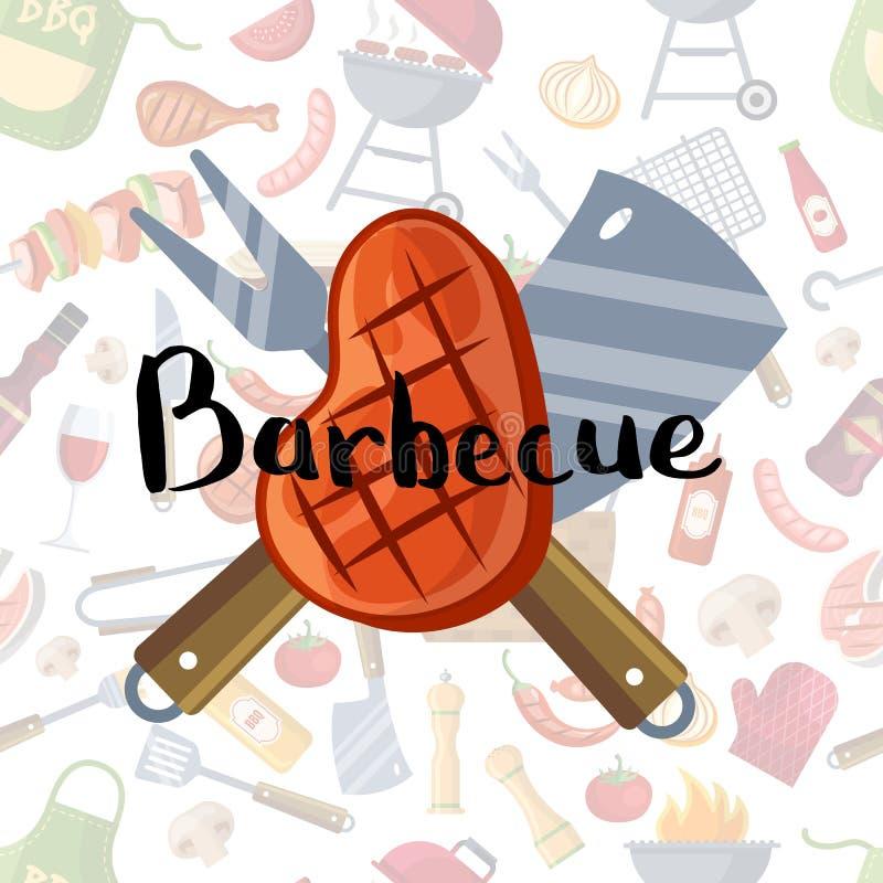 Gebratenes Fleisch, knive und Gabel mit Beschriftung auf Grill- oder Grillelementhintergrund stock abbildung
