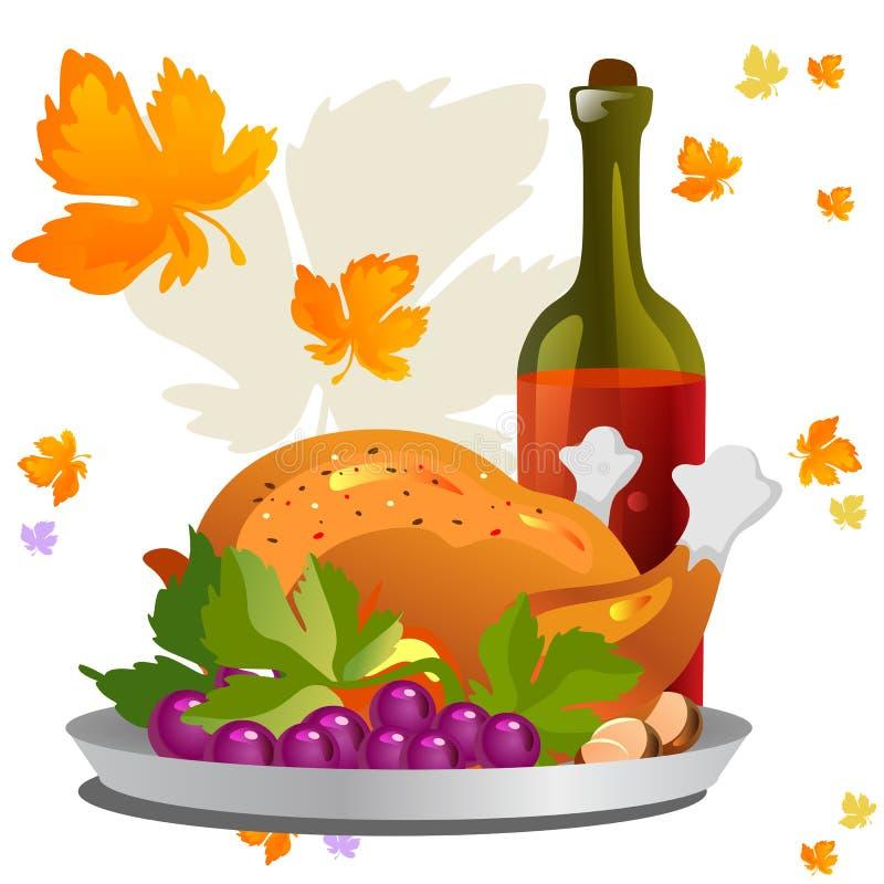 Gebratenes ganzes Huhn oder Truthahn sauced und grillten Herbstgemüse, den Wein, der auf weißem Hintergrund mit Gelb lokalisiert  lizenzfreie abbildung