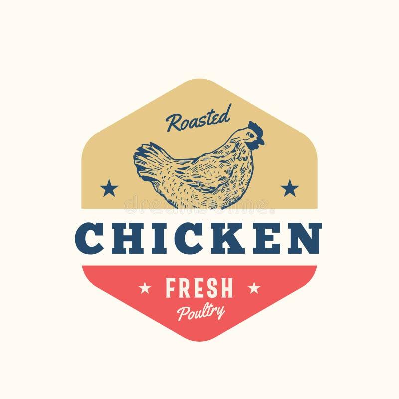 Gebratenes Hühnerfrisches Geflügel-Zusammenfassungs-Vektor-Zeichen, Symbol oder Logo Template Hand gezeichnetes Huhn Sillhouette  stock abbildung