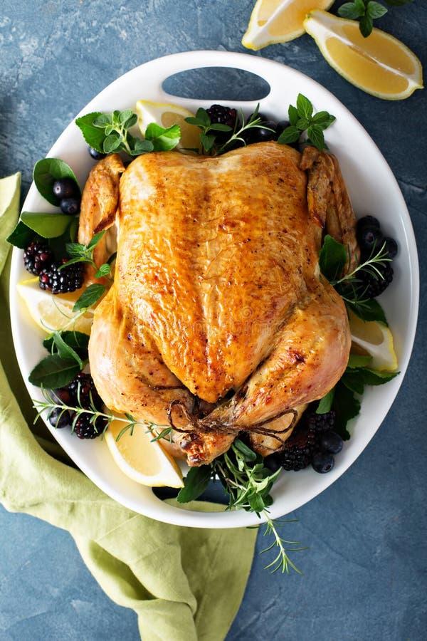 Gebratenes Huhn für Feiertags- oder Sonntags-Abendessen lizenzfreie stockfotos