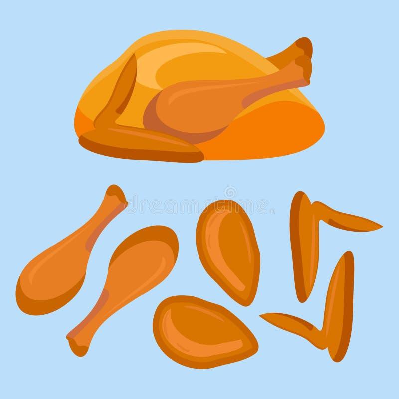 Gebratenes Huhn oder Truthahn und seine Teile lizenzfreie abbildung