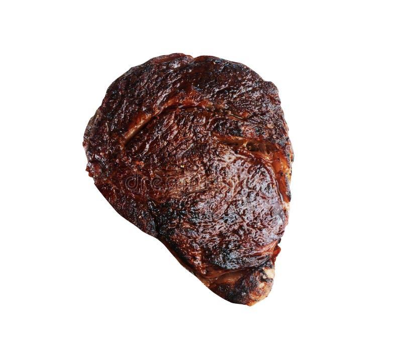 Gebratenes Steak lokalisiert auf Weiß lizenzfreie stockbilder