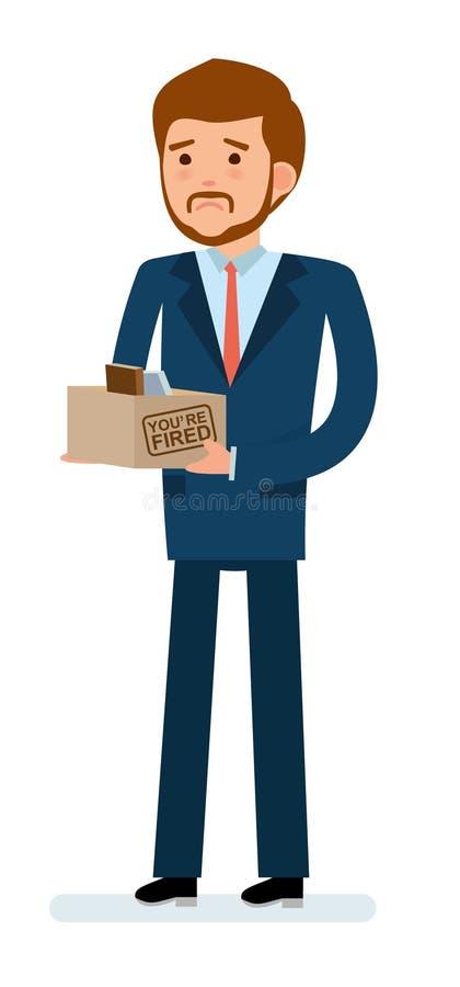 Gebrauchsfertiger Charakterschaffungssatz Erhalten abgefeuert Geschäftsmann, der einen Kasten mit seinem Material hält stock abbildung