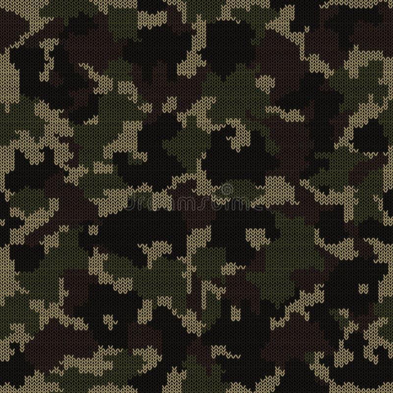 Gebreid camouflage naadloos patroon Het manierontwerp voor het maskeren en de militaire stijl breien kleren stock illustratie