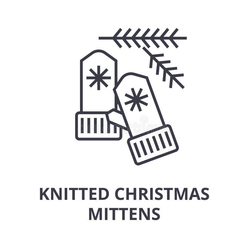 Gebreid de lijnpictogram van Kerstmisvuisthandschoenen, overzichtsteken, lineair symbool, vector, vlakke illustratie royalty-vrije illustratie