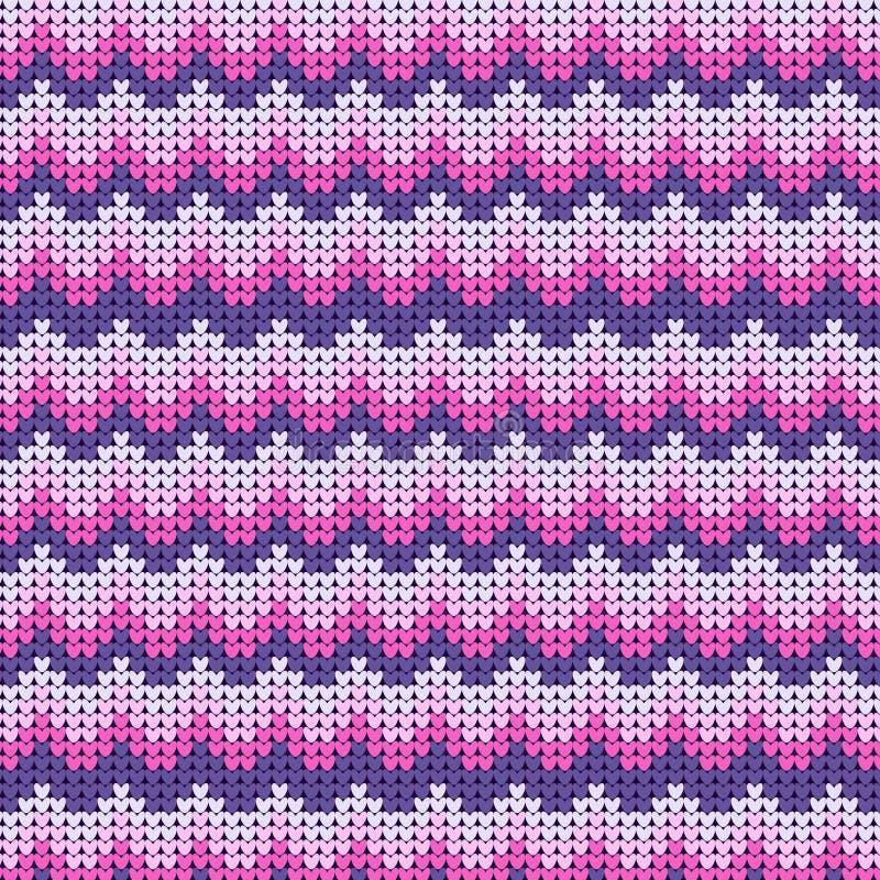 Gebreid gestreept roze-en-wit patroon De achtergrond van de de winterwol stock illustratie