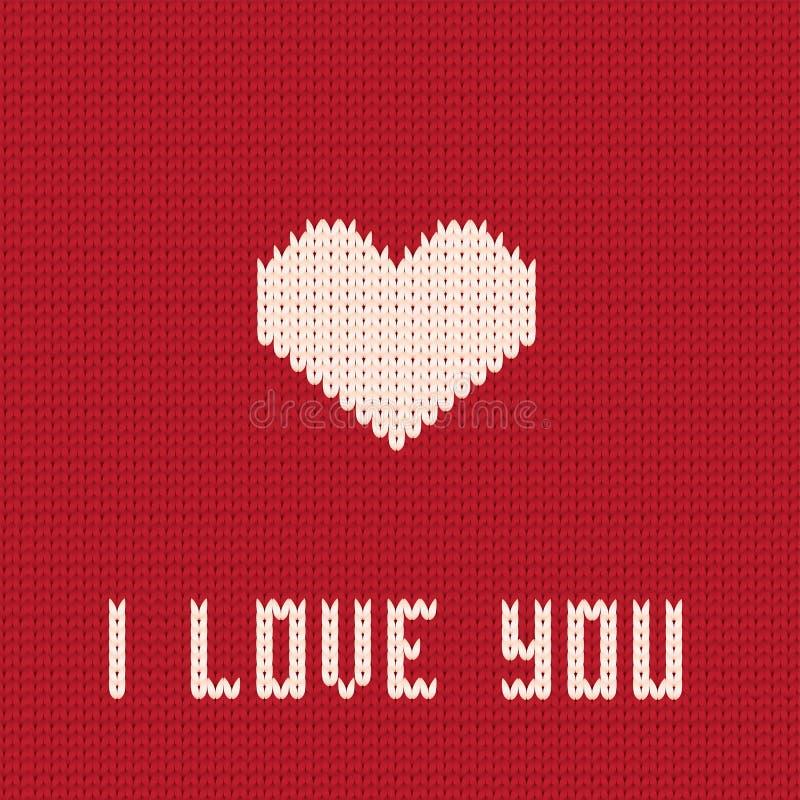 Gebreid hart. De dagkaart van valentijnskaarten. stock illustratie