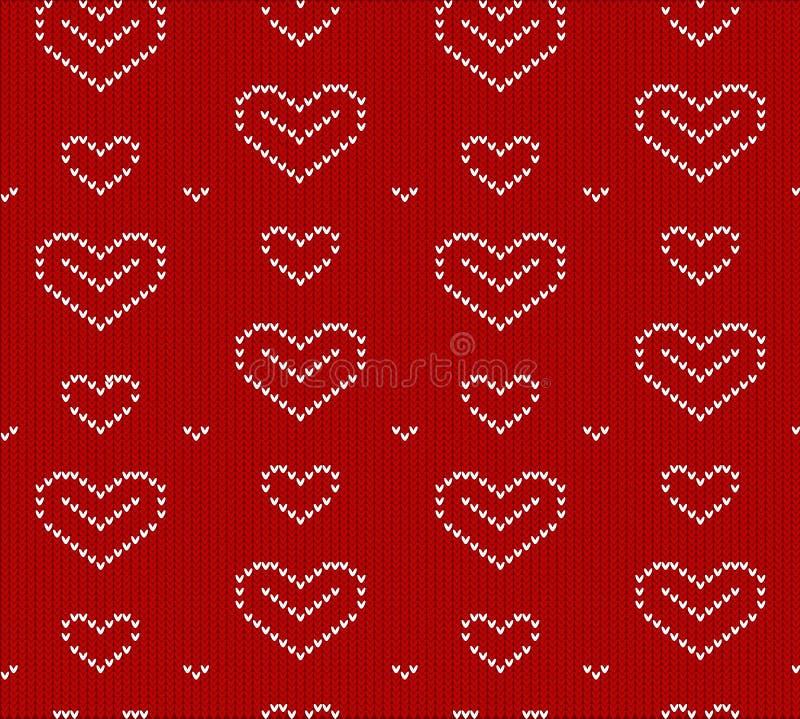 Gebreid hart, naadloos vectorpatroon, Behang, achtergrond het vectorhart is een symbool van liefde, vakantie voor ontwerp, achter royalty-vrije illustratie