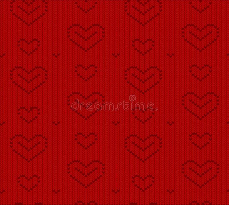 Gebreid hart, naadloos vectorpatroon, Behang, achtergrond het vectorhart is een symbool van liefde, vakantie voor ontwerp, achter stock illustratie