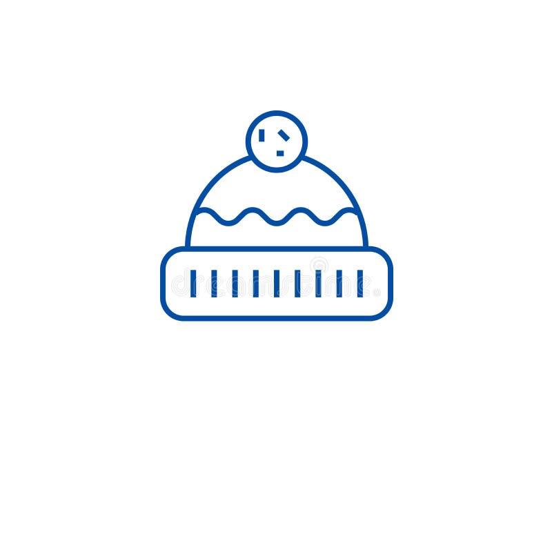 Gebreid het pictogramconcept van de hoedenlijn Gebreid hoeden vlak vectorsymbool, teken, overzichtsillustratie royalty-vrije illustratie