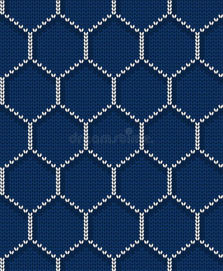 Gebreid hexagon naadloos patroon voor sweater Het kan voor prestaties van het ontwerpwerk noodzakelijk zijn vector illustratie