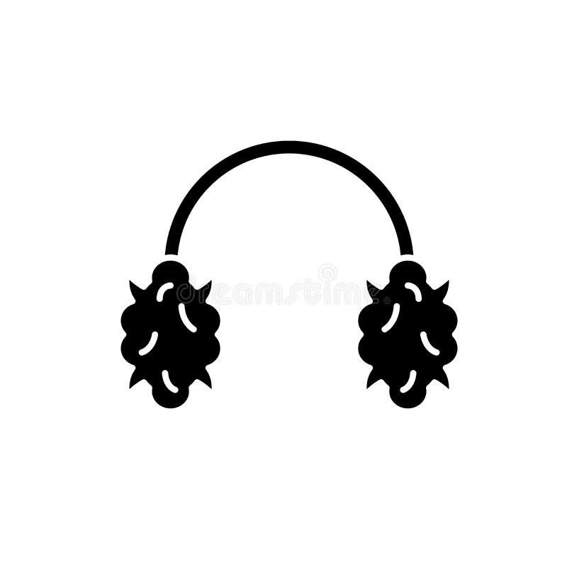 Gebreid hoofdtelefoons zwart pictogram, vectorteken op geïsoleerde achtergrond Het gebreide symbool van het hoofdtelefoonsconcept royalty-vrije illustratie