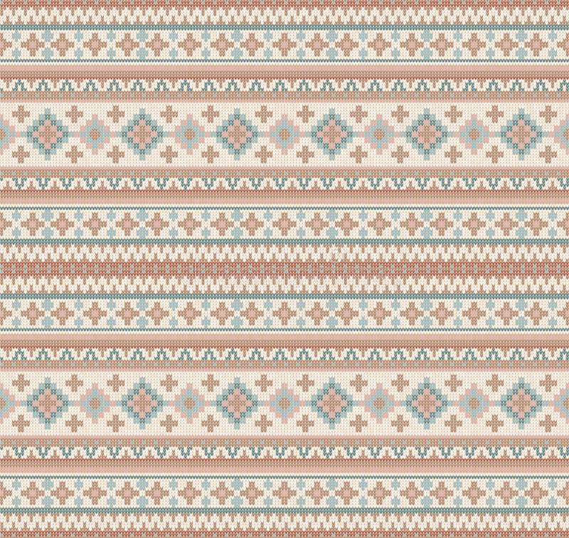 Gebreid Indisch het ornament naadloos patroon van dekenpaisley Etnische Mandala-druk vector illustratie