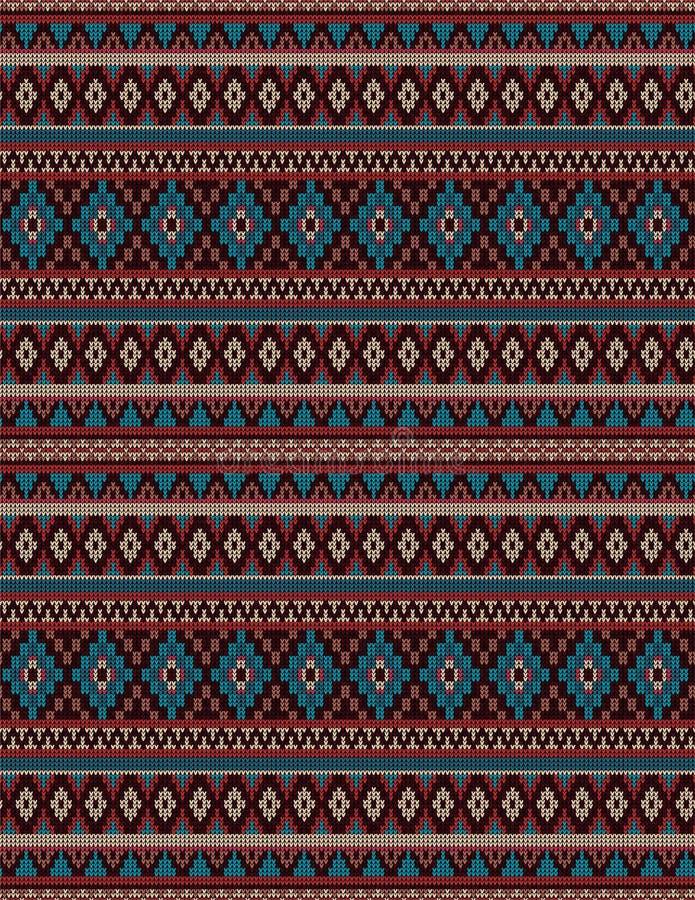 Gebreid Indisch het ornament naadloos patroon van dekenpaisley Etnische Mandala-druk stock illustratie