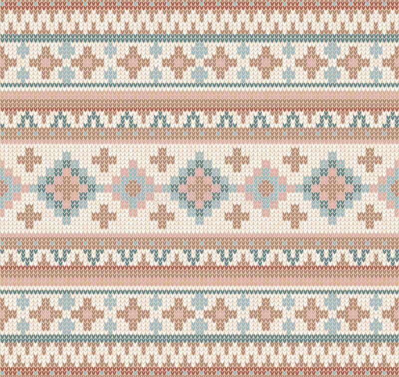 Gebreid Indisch het ornament naadloos patroon van dekenpaisley Etnische Mandala-druk royalty-vrije illustratie