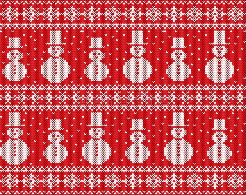 Gebreid Kerstmisontwerp met sneeuwmannen en sneeuwvlokken Geometrisch brei naadloos ornament royalty-vrije illustratie