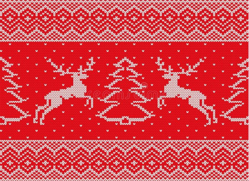 Gebreid Kerstmisornament met deers en Kerstmisboom royalty-vrije illustratie