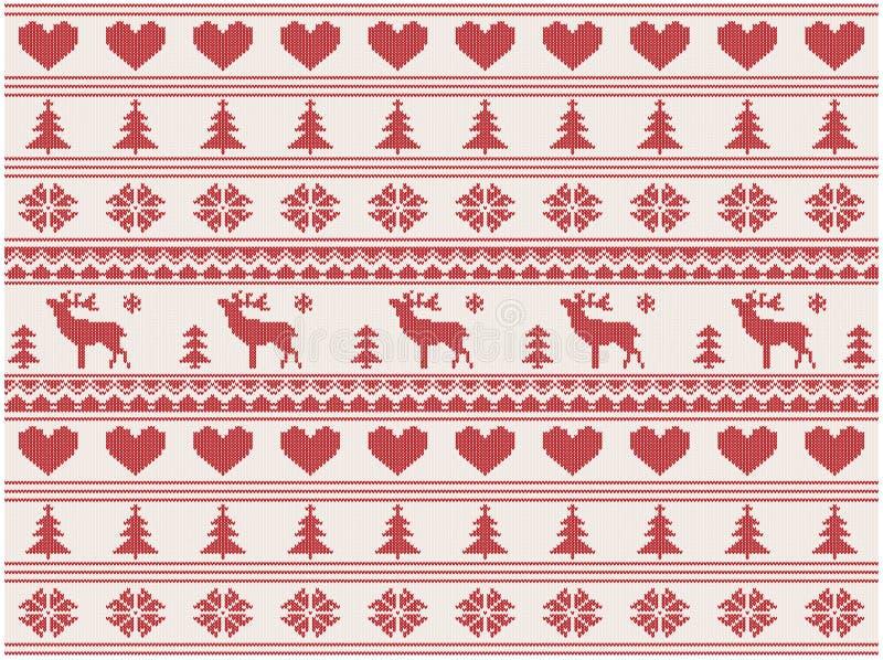 Gebreid Kerstmispatroon stock illustratie