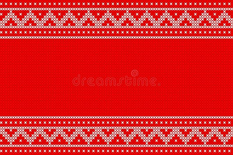 Gebreid Kerstmispatroon vectorontwerp voor Kerstmisdag stock illustratie