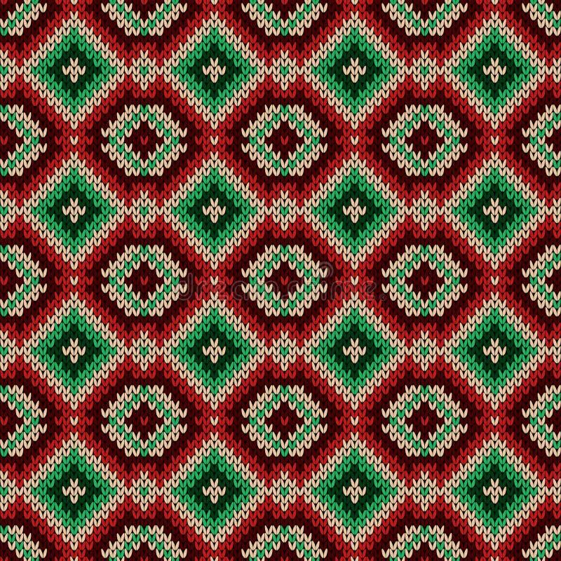Gebreid naadloos decoratief patroon stock illustratie