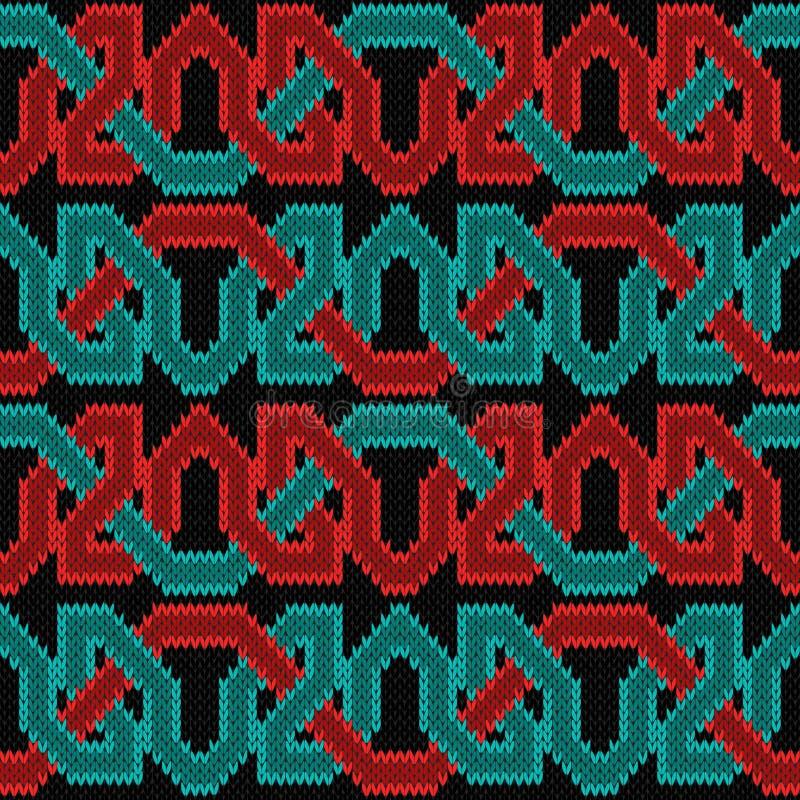 Gebreid naadloos horizontaal ornament royalty-vrije illustratie