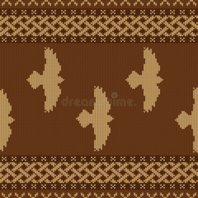 Gebreid naadloos Keltisch nationaal ornament met met vliegende raven stock illustratie