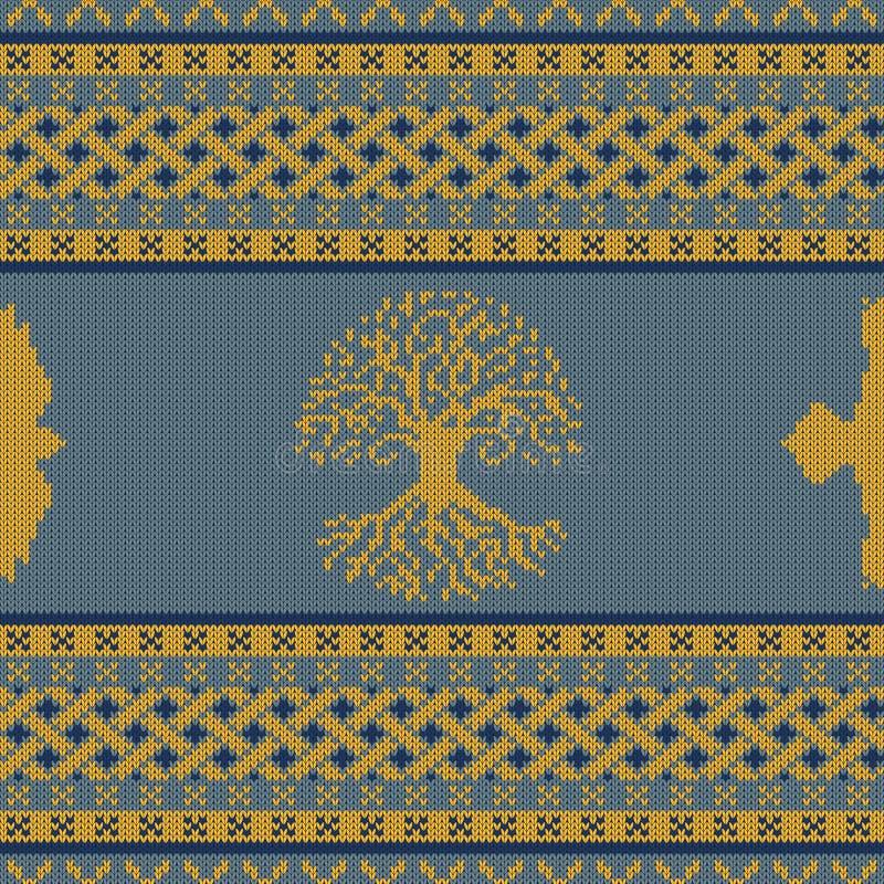 Gebreid naadloos Keltisch nationaal ornament met Wereldboom en raaf stock illustratie
