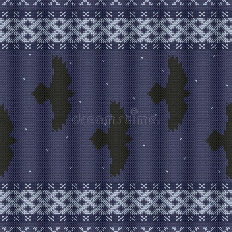 Gebreid naadloos Keltisch nationaal ornament met zwarte raven in de sterrige hemel stock illustratie