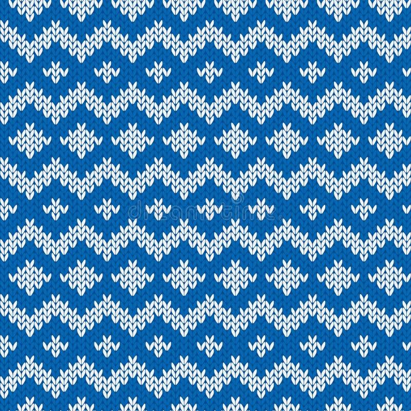 Gebreid Naadloos Patroon in Blauw en Lichtgrijs stock illustratie