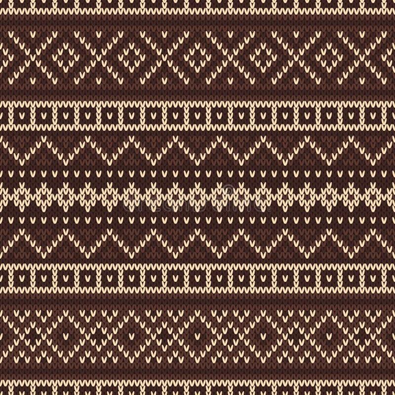 Gebreid naadloos patroon in Eerlijke Eilandenstijl royalty-vrije illustratie