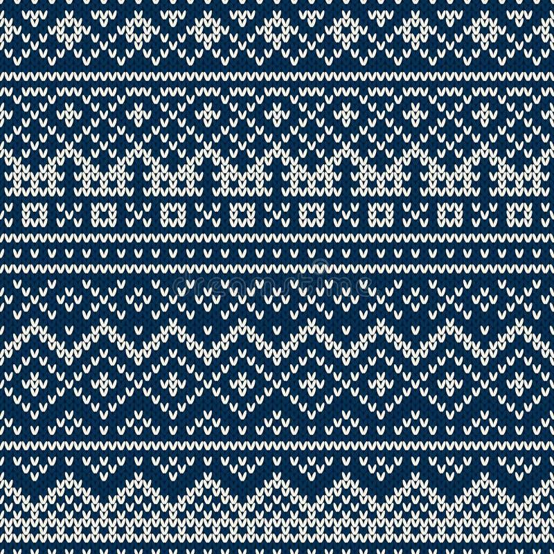 Gebreid naadloos patroon in Eerlijke Eilandenstijl stock illustratie